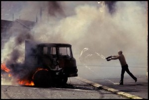 Northern Ireland, 1981 - Truck hijacked by Catholic demonstrators during the hunger strike of Bobby Sands